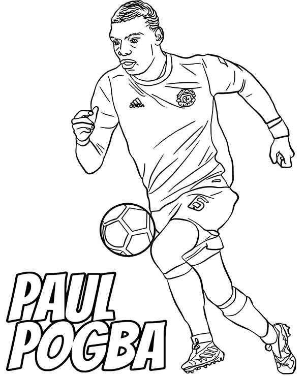 Paul Pogba coloring page with football players for free