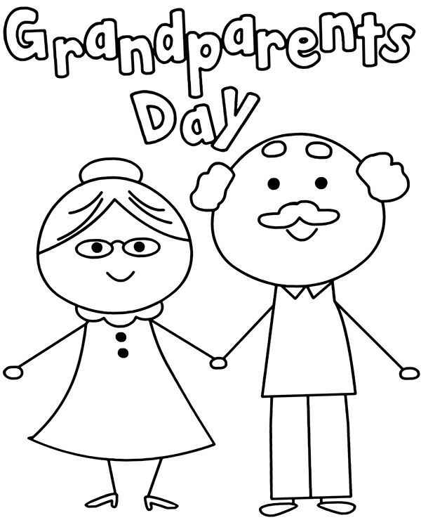 High-quality Grandparents day coloring sheet to print for free