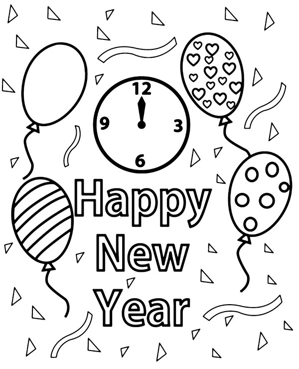 happy new year coloring page printable greeting card