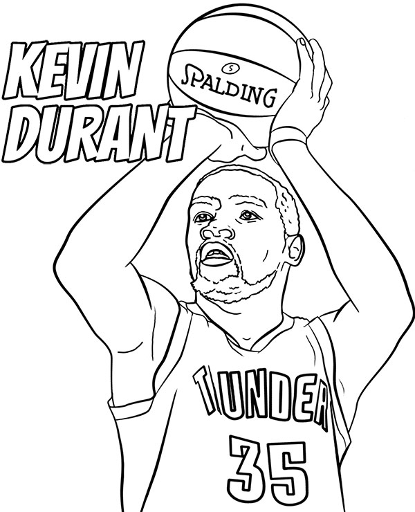 Kevin Durant coloring page NBA player basketball picture