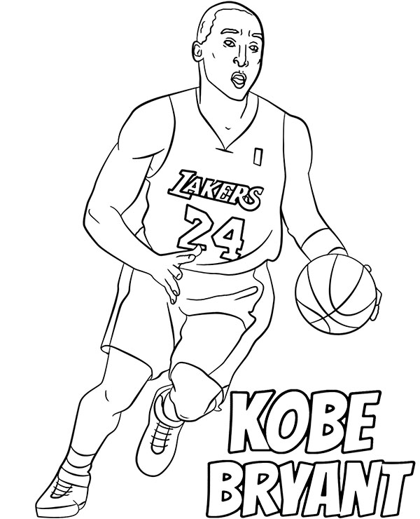 Kobe Bryant coloring page NBA players basketball pictures