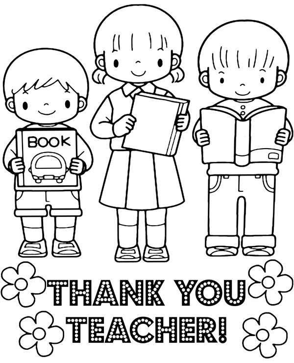 Free Printable Coloring Thank You Cards For Teachers