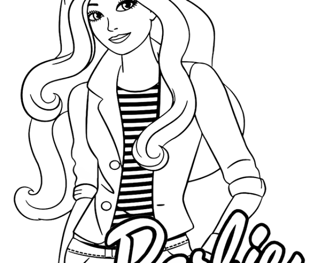 Modern Barbie Coloring Page With Original Logo
