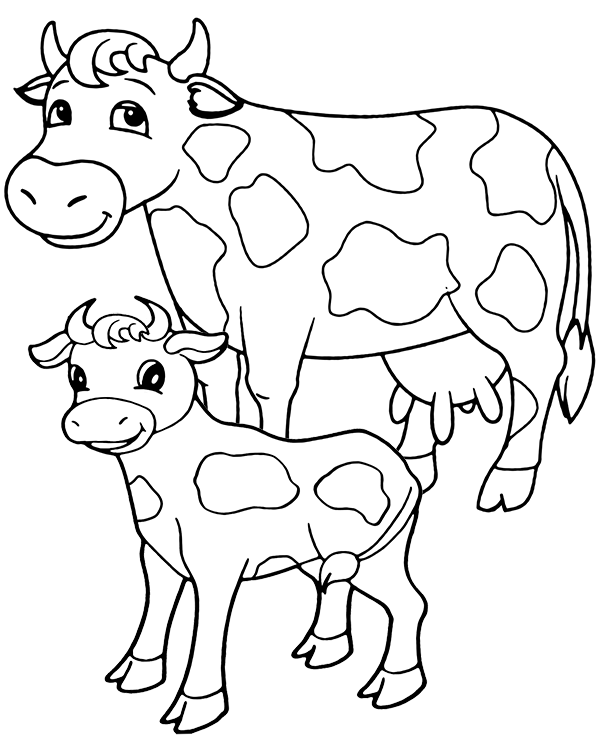 Free Cows Coloring Sheet Page For Kids