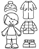 Winter coloring pages for kids with snowman on