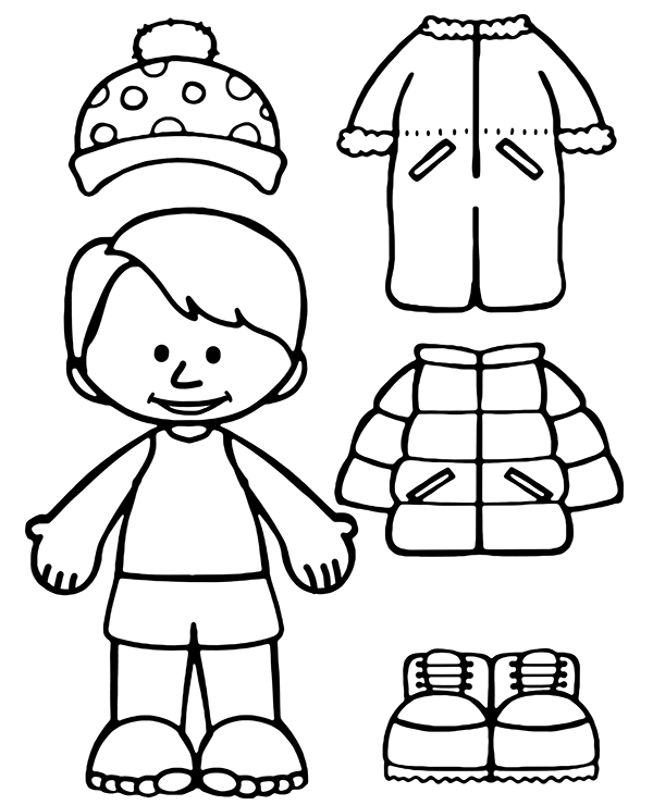 Clothes For Winter On A Coloring Page