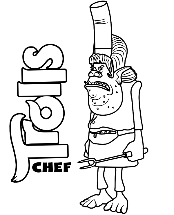 free chef coloring page trolls to print for free