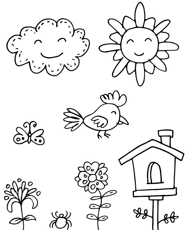 Easy coloring page for kids in kindergarten