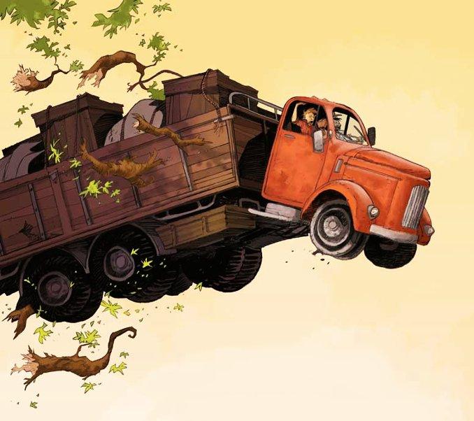 camion plongeant au dessus d'un précipice Amazonie