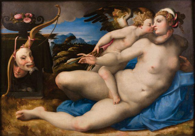 Venus besada por Cupido