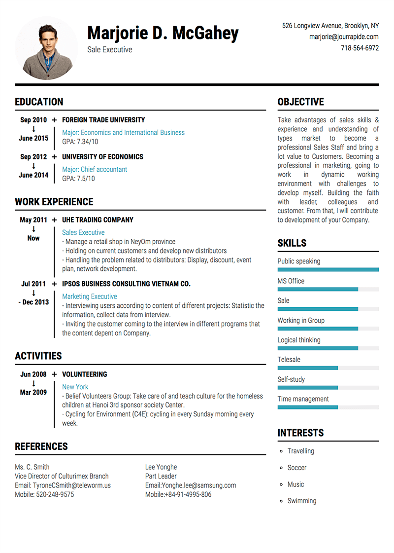 Template Of A Resume Professional Resume Cv Templates With Examples Topcv Me