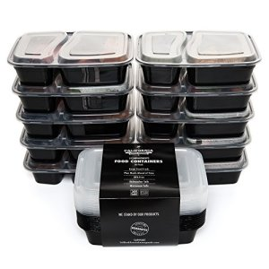 California-Home-Goods-2-Compartment-Reusable-Food-Storage-Containers-with-Lids-Microwave-and-Dishwasher-Safe-Bento-Lunch-Box-Stackable-Set-of-10-0