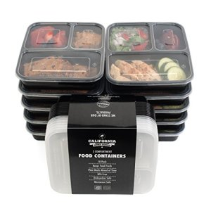 California-Home-Goods-3-Compartment-Reusable-Food-Storage-Containers-with-Lids-Microwave-and-Dishwasher-Safe-Bento-Lunch-Box-Stackable-Set-of-10-0