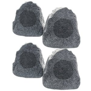 set-of-4-of-New-Outdoor-Garden-Waterproof-Granite-Rock-Patio-Speakers-4R4G-0