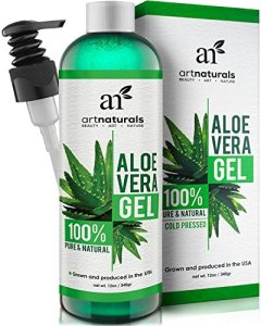 Art-Naturals-Aloe-Vera-Gel-for-Face-Hair-Body-Organic-100-Pure-Natural-Cold-Pressed-12-Oz-For-Sun-Burn-Eczema-Bug-or-Insect-Bites-Dry-Damaged-Aging-skin-Razor-Bumps-and-Acne-0