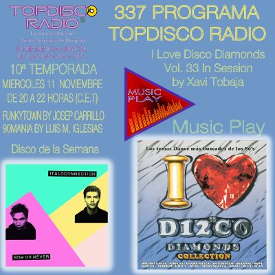337 Programa Topdisco Radio | Music Play I Love Disco Diamonds Vol 32 in session - Funkytown - 90mania - 11.11.2020