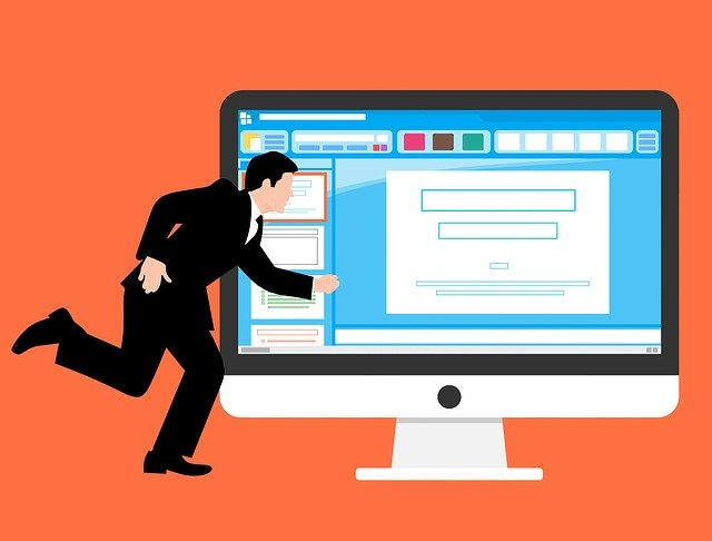 Image of a person in a suit running in front of a computer screen showing a web page, representing how law firm SEO can help bring clients to your door.
