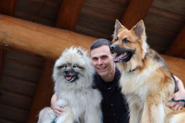 Matt Kaeberlein with his dogs, Chloe and Dobby