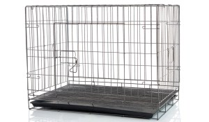 A simple metal dog crate that's not heavy duty