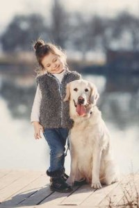 A child with a dog