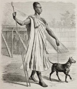 Engraved ancient dogs drawing