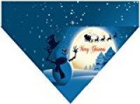 Plus Size Pups' Christmas Over the Collar Dog Bandana - Merry Christmas Snowman