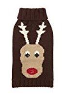 Fab Dog Holiday Reindeer Knit Turtleneck Dog Sweater