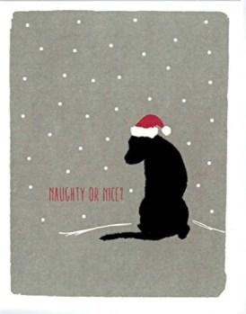 "Black Lab Holiday Cards ""Naughty or Nice?"""