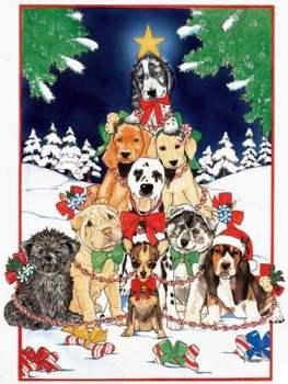 Dogs O'Christmas Tree Christmas Cards
