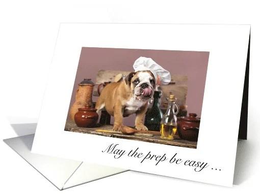 Happy Thanksgiving - English Bulldog in Chef Hat