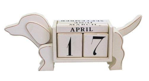 Shabby Chic Dog Shaped Wood Blocks Perpetual Desk Calendar