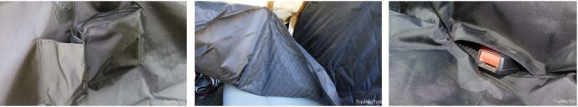 Extra features on a dog car seat cover