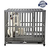 Smonter Heavy Duty Metal Dog Kennel With Wheels