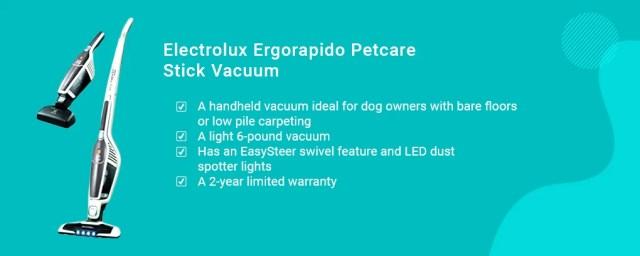 Electrolux Ergorapido Petcare Stick Vacuum best vacuums for dog hair