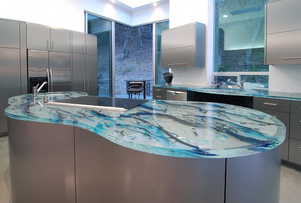 Recycled Material Countertops Modern Glass Kitchen Countertops