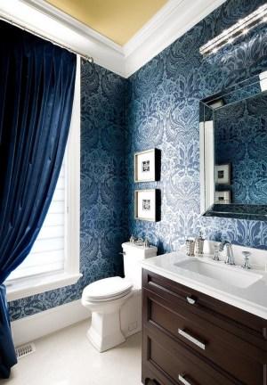 elegant damask wallpapers interiors powder via accent silver mirror