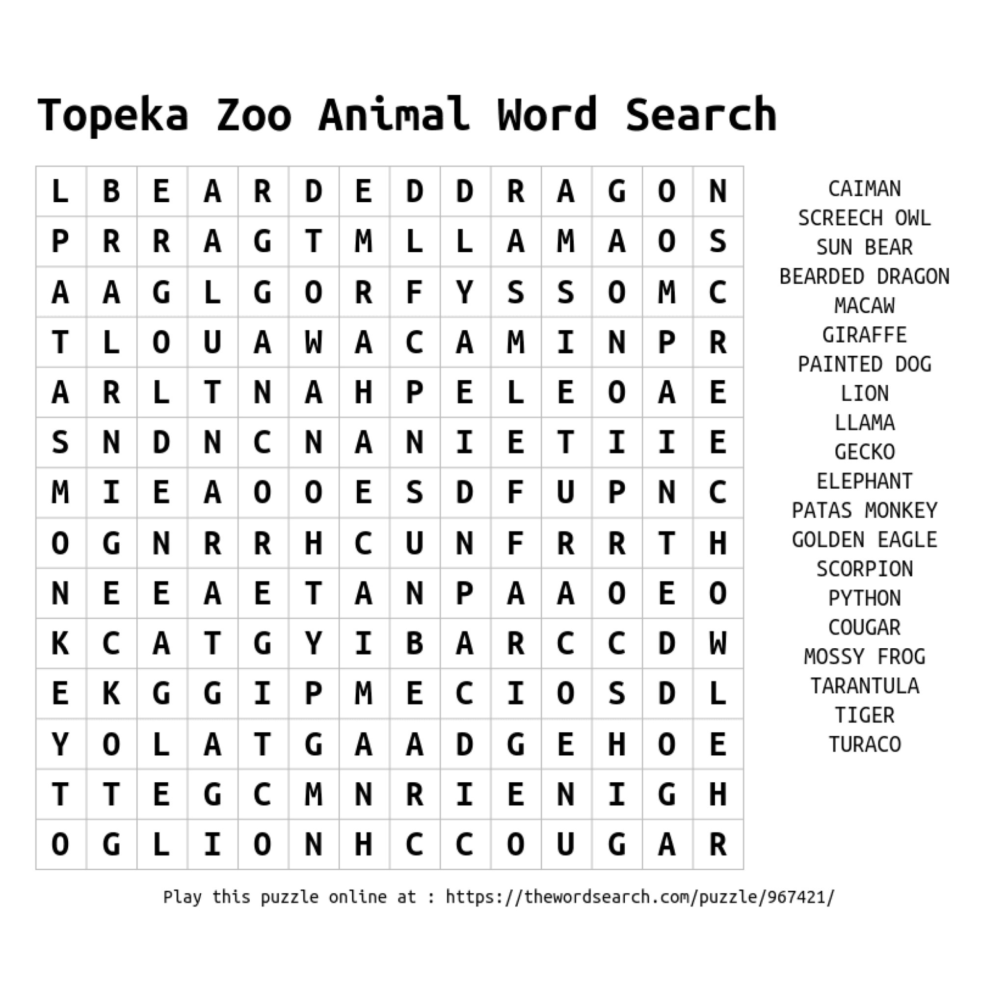 hight resolution of ZooEducationResources - Topeka Zoo \u0026 Conservation Center
