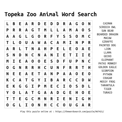 small resolution of ZooEducationResources - Topeka Zoo \u0026 Conservation Center