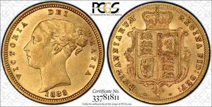 Australia 1883S Half Sovereign PCGS AU55