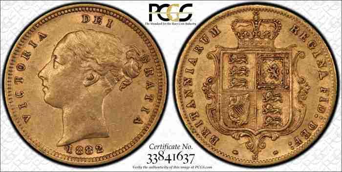 Australia 1882 Melbourne Half Sovereign PCGS AU55