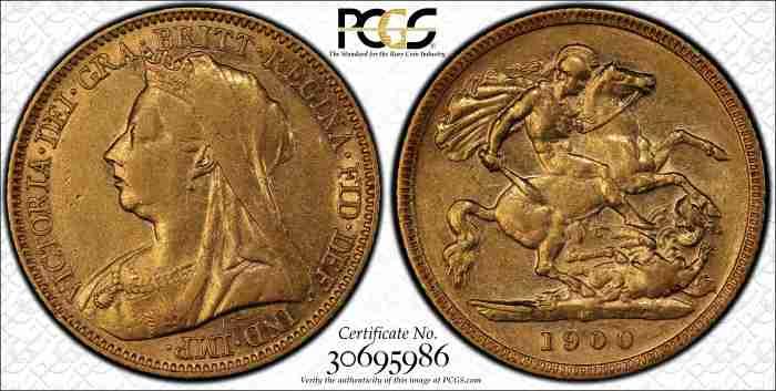 Australia 1900M Half Sovereign PCGS XF45