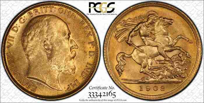 Australia 1908M Half Sovereign PCGS AU58