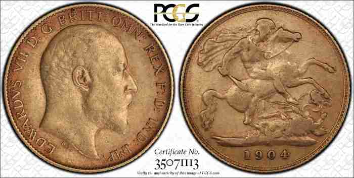 Australia 1904P Half Sovereign PCGS XF40