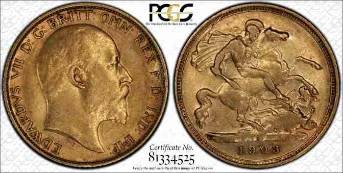 Australia 1903S Half Sovereign PCGS XF45