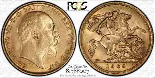Australia 1908S Half Sovereign PCGS AU55