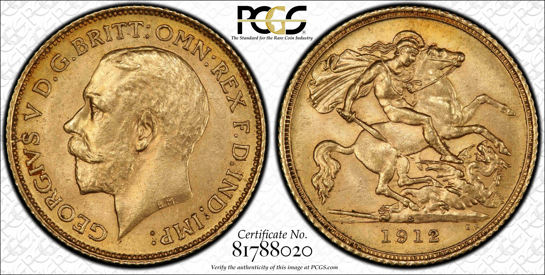 Australia 1912S Half Sovereign PCGS MS63