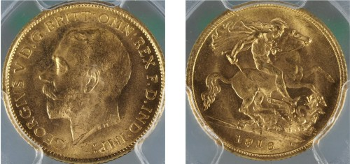 Australia 1916S Half Sovereign PCGS MS65