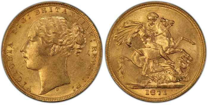 Australia 1871S Small BP Sovereign PCGS AU58