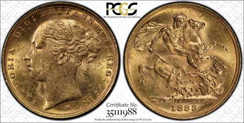 Australia 1883 Melbourne Sovereign PCGS MS62
