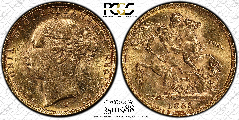 Australia 1883 Melbourne Sovereign PCGS MS62
